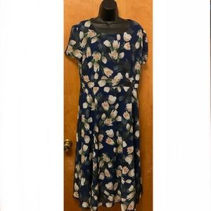 Blue with White Tulips Dress Plus size